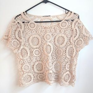 Boho Crochet Lace Cropped Cover-up/Layering Tee